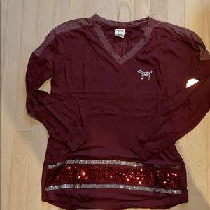 v neck, sparkly, long sleeve t shirt